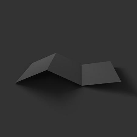 business card holder: Blank tri fold paper brochure mockup. Vector Illustration .