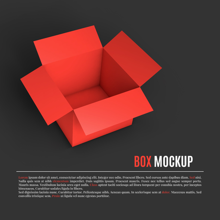Open red box mockup template. Can be used to deliver your goods. Vector Illustration EPS10. Иллюстрация