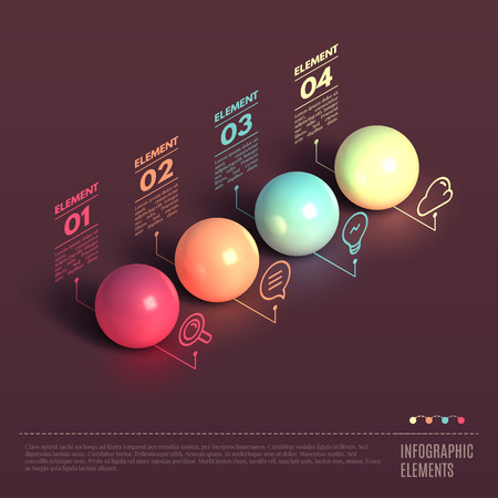 ball: Business Infographics ball concept. 3d isometric vector illustration. Can be used for web design and workflow layout Illustration