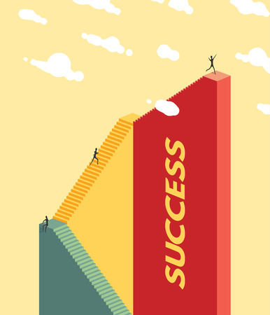 red wall: People climb the stairs. Success concept. Vector Illustration EPS10.
