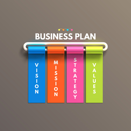 include: Banner business infographic template. Business plan concept include vision mission strategy values.