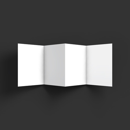 mockup: Zigzag white 4 page brochure mockup template.  Illustration