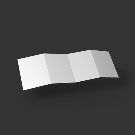documents: Zigzag white 4 page brochure mockup template. Presentation of your branding and identity design. Vector Illustration