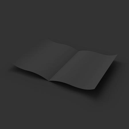 blank magazine: Black blank magazine spread. Business mock up template. Presentation of your branding and identity design.  Illustration