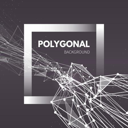 ワイヤ メッシュのポリゴン背景。接続された直線と点と波。ベクトル図 EPS10。  イラスト・ベクター素材