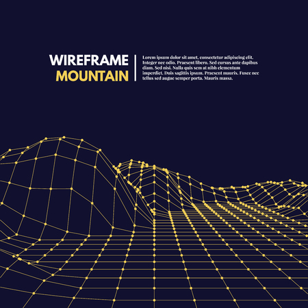 mountainous: Wireframe mesh polygonal surface. Mountains with connected lines and dots. Vector Illustration EPS10.
