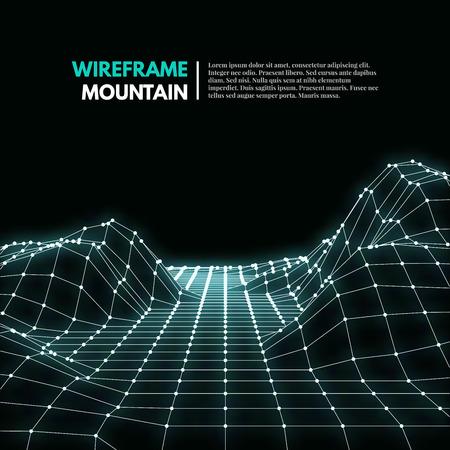 Wireframe malla superficie poligonal. Montañas con líneas conectadas y puntos. Ilustración vectorial EPS10.