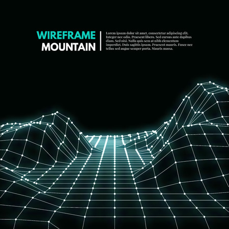 Wireframe mesh polygonal surface. Mountains with connected lines and dots. Vector Illustration EPS10.