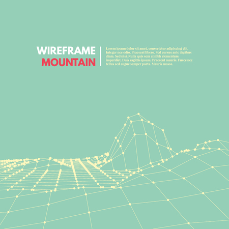 surfaces: Wireframe mesh polygonal surface. Mountains with connected lines and dots. Vector Illustration EPS10.