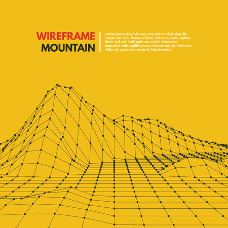 digital background: Wireframe mesh polygonal surface. Mountains with connected lines and dots. Vector Illustration EPS10.