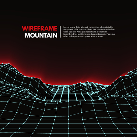 lines vector: Wireframe mesh polygonal surface. Mountains with connected lines and dots. Vector Illustration EPS10.