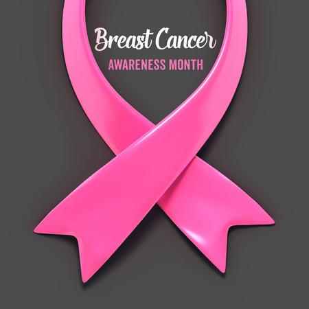 Breast cancer pink ribbon. National Breast Cancer Awareness Month concept. Vector Illustration EPS10.