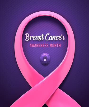 rak: Rak piersi Różowa wstążka. Narodowy Breast Cancer Awareness Month koncepcja. Ilustracja wektora EPS10. Ilustracja