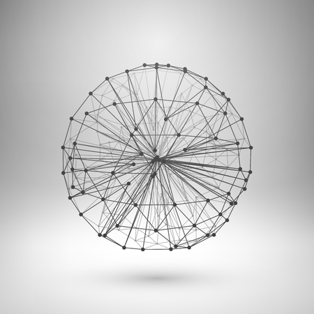 ball: Wireframe mesh polygonal element. Sphere with connected lines and dots. Vector Illustration EPS10.