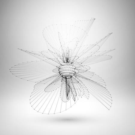 Wireframe malla elemento poligonal. Esfera con líneas conectadas y puntos. Ilustración vectorial EPS10.