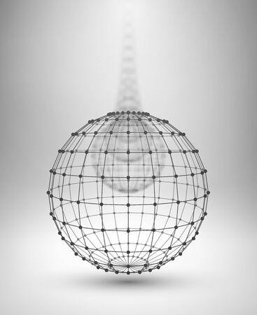 globo: Wireframe Globe. Sfera con linee collegate e punti. Illustrazione vettoriale EPS10.