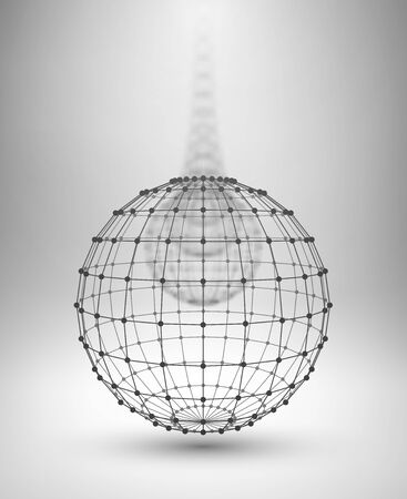modelling: Wireframe Globe. Sphere with connected lines and dots. Vector Illustration EPS10.