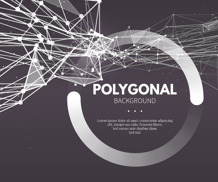 Wireframe mesh polygonal background. Wave with connected lines and dots. Vector Illustration EPS10. Vectores