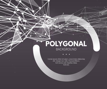 poligonos: Wireframe malla fondo poligonal. Agite con líneas conectadas y puntos. Ilustración vectorial EPS10.