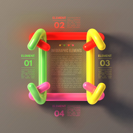 plastic pipe: Business Infographics concept. Overlapping tubes form a square frame. 3d vector illustration  Illustration