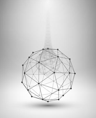 ワイヤ フレームのグローブ。接続された直線と点と球します。ベクトル図