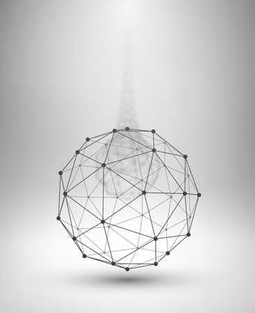 Wireframe Globe. Sphere with connected lines and dots. Vector Illustration  Çizim