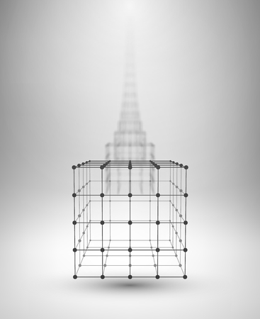 modelling: Wireframe Box. Cube with connected lines and dots. Vector Illustration