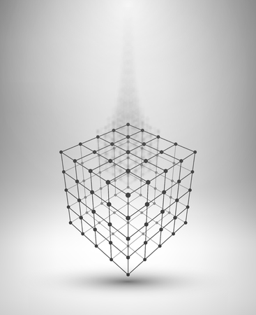 mesh texture: Wireframe Box. Cube with connected lines and dots. Vector Illustration EPS10. Illustration