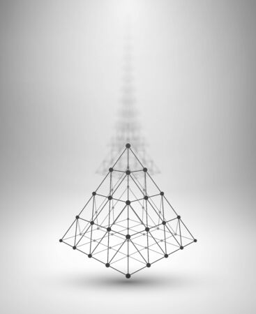 pyramid: Wireframe shape. Pyramid with connected lines and dots. Vector Illustration
