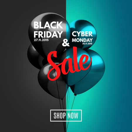 Black Friday and Cyber Monday Sale concept background. Vector Illustration Çizim