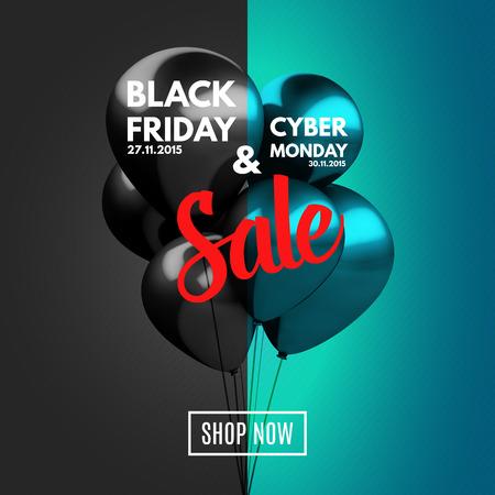 Black Friday en Cyber maandag Sale concept achtergrond. Vector Illustratie