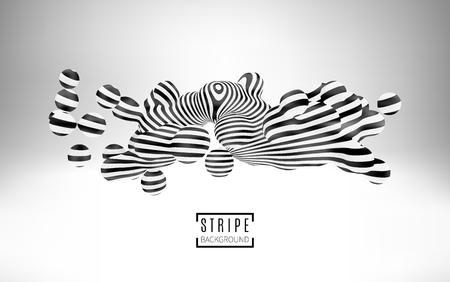 arte optico: Las partículas de bolas con una textura de rayas. elemento metaball 3d. arte del estilo de la ilusión óptica. Ilustración del vector