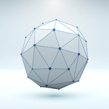 poligonos: Malla de elementos poligonales. Esfera con líneas y puntos conectados. Ilustración del vector