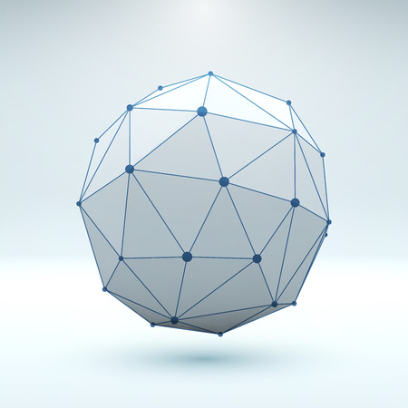wire globe: Mesh polygonal element. Sphere with connected lines and dots. Vector Illustration