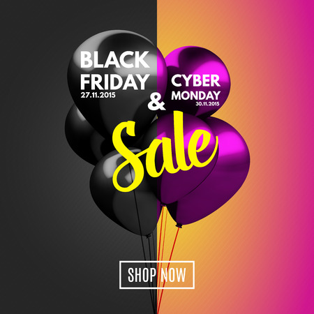 black a: Black Friday and Cyber Monday Sale concept background. Vector Illustration EPS10.