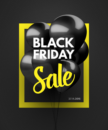 balloons: Black Friday Sale concept background. Vector Illustration EPS10. Illustration