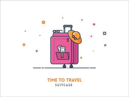 tourists: Time to travel concept. Suitcase flat outline vector icon illustration. Illustration