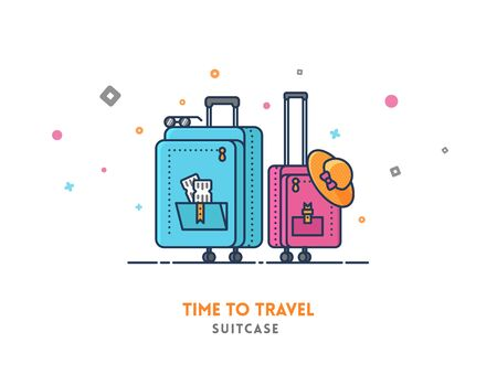 Time to travel concept. Suitcase flat outline vector icon illustration. Çizim