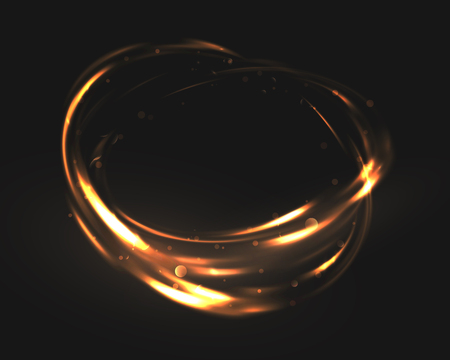 dodge: The tornado of light with sparkling lines. Bokeh particles on the swirling circles. Motion element on black background glowing light. Shiny gold color dodge effect. Vector illustration.