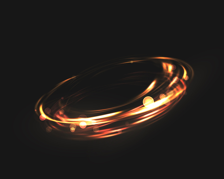 The tornado of light with sparkling lines. Bokeh particles on the swirling circles. Motion element on black background glowing light. Shiny gold color dodge effect. Vector illustration.