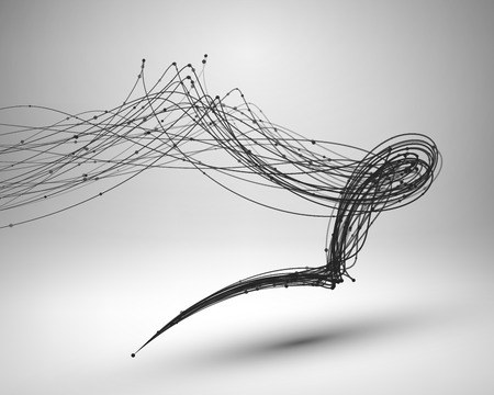 wires: Tornado. Swirl with connected line and dots. Wired structure. Technology background. Vector illustration.