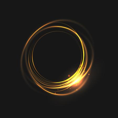 Los anillos de luz con líneas brillantes. partículas de bokeh sobre los círculos de remolino. elemento de movimiento sobre fondo negro brillante luz. de color oro brillante esquivar efecto. Ilustración de vector