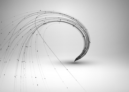 abstract illustration: Tornado. Swirl with connected line and dots. Wired wavy structure. Technology connection concept. abstract illustration.