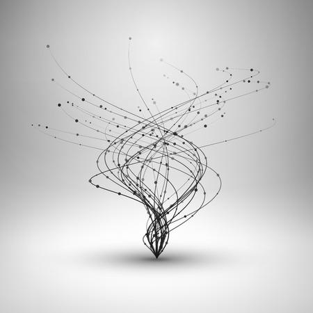 폭풍. 연결 라인과 점으로 소용돌이 친다. 유선 물결 모양의 구조. 기술 연결 개념입니다. 추상 그림. 일러스트