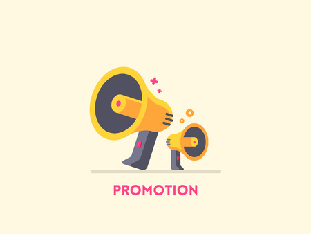 alert: Megaphone icon. Marketing promotion concept.  flat illustration