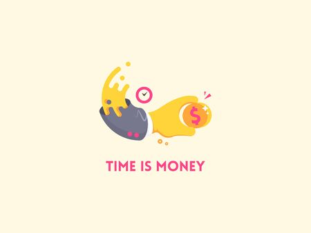 analogy: Time is money concept icon. Hand with clock holding a coin. Money saving, time management and efficiency business concept. Flat illustration.