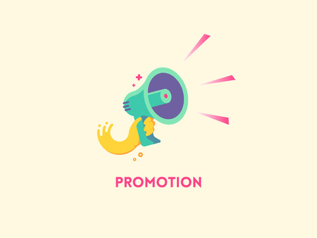 alert: Marketing promotion concept. Speaker Hand holding a megaphone. flat icon illustration