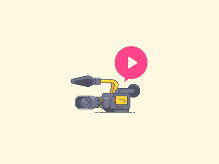 Video camera icon. Recording and playback. Icon for video blogging, reportage, video course, live stream and other media content. flat outline illustration.