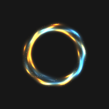 dodge: The rings of light with sparkling lines. Bokeh particles on the swirling circles. Motion element on black background glowing light. Shiny gold color dodge effect. illustration. Illustration