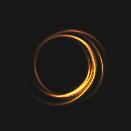 きらきら輝くラインと光のリング。旋回サークル ボケ粒子。黒の背景の輝く光のモーション要素。光沢のあるゴールド カラーをかわす効果。イラス
